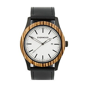 EVERWOOD Inverness Watch in Zebrawood and Black Leather