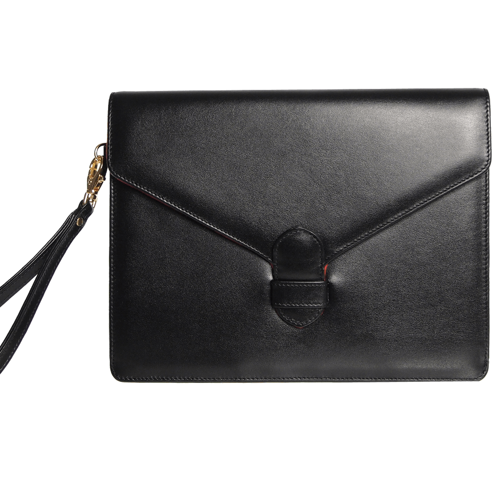 72 SMALLDIVE Buffed Calf Leather Envlope Wristlet in Black