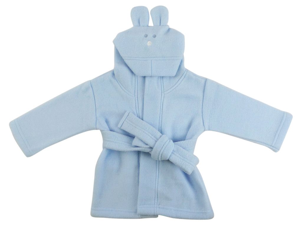 BAMBINI Fleece Robe With Hoodie in Blue