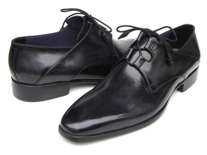 PAUL PARKMAN Lacing Plain Toe Black Shoes