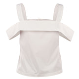 MUZA White Cold-shoulder Top with Button Front