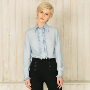 MUZA Blue Ruffle Button Down Shirt