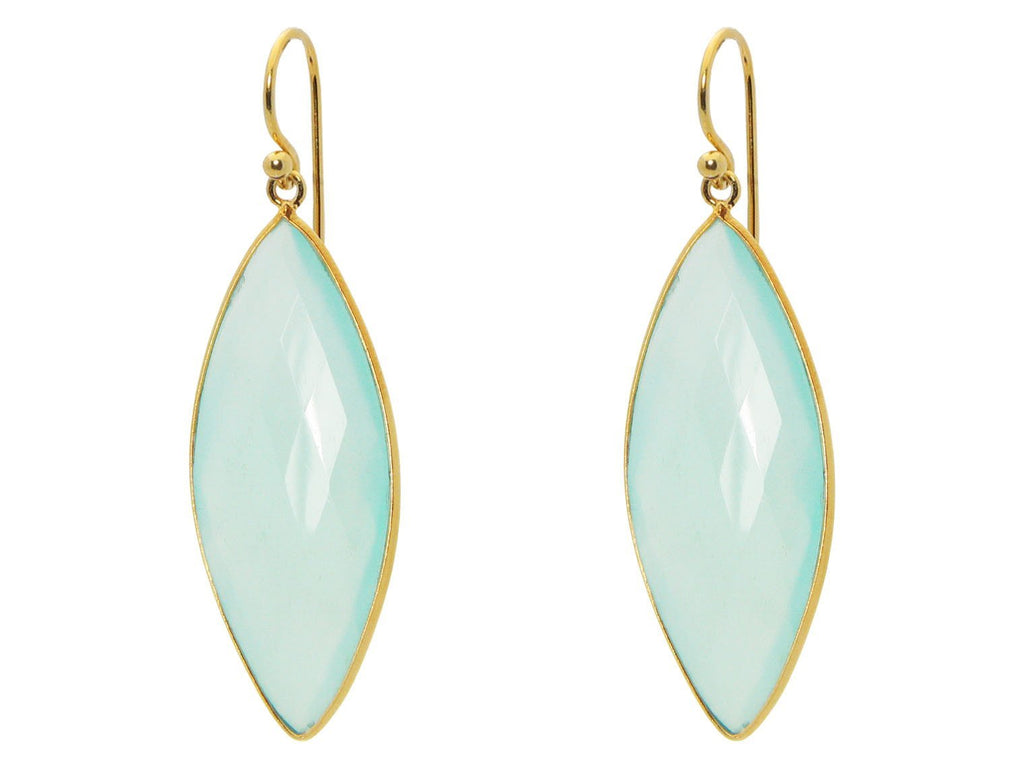 FRONAY Milky Green Chalcedony Hook Earrings