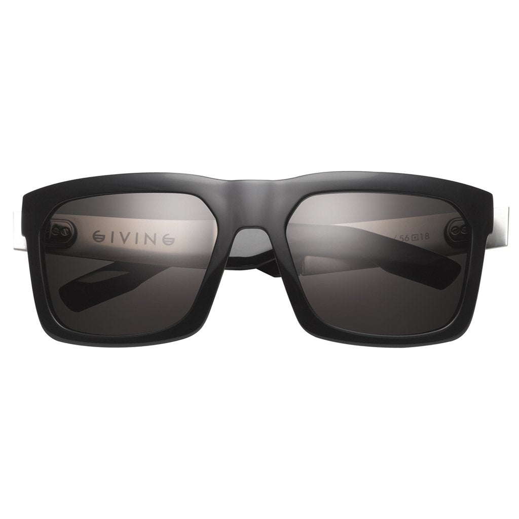 IVI VISION Giving Sunglasses in Polished Black with Brushed Aluminum / Grey Lens
