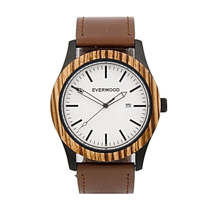 EVERWOOD Zebrawood and Brown Leather Watch