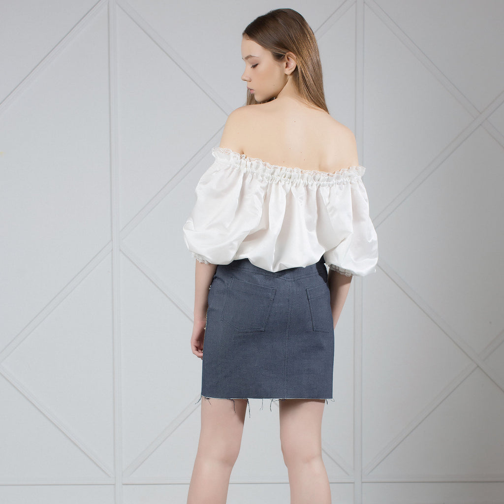 MUZA Off-the-shoulders Silk Blouse