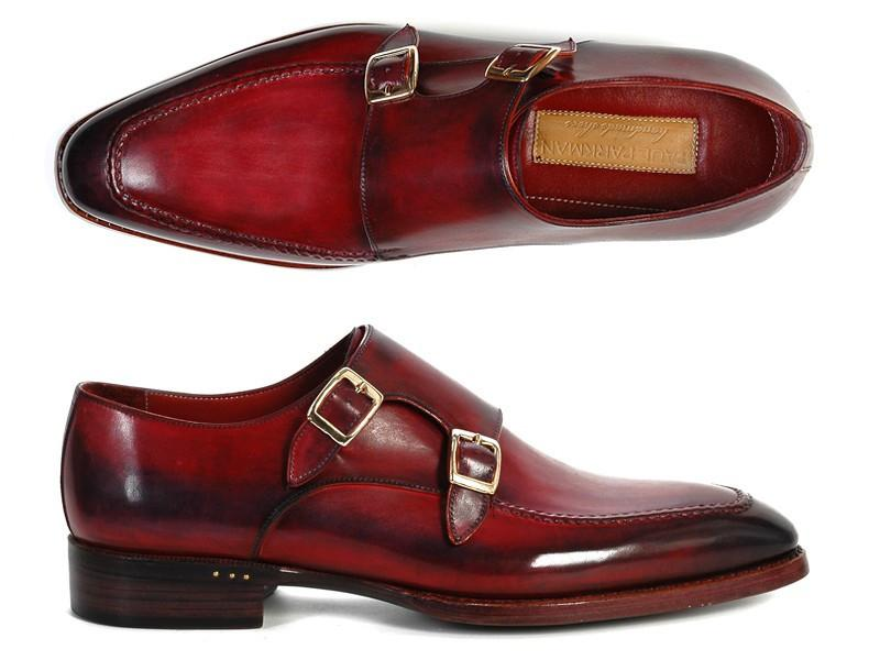 PAUL PARKMAN Double Monkstrap Shoes in Black & Bordeaux