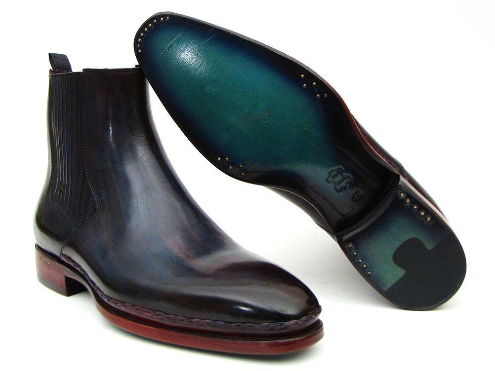 PAUL PARKMAN Chelsea Boots in Navy & Bordeaux