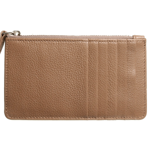 72 SMALLDIVE Grained Calf Leather Zip Wallet in Taupe