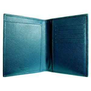 72 SMALLDIVE Saffiano Bi Colored Passport Sleeve Blue
