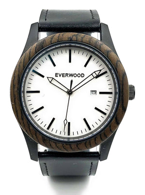 EVERWOOD Walnut and Black Leather Watch