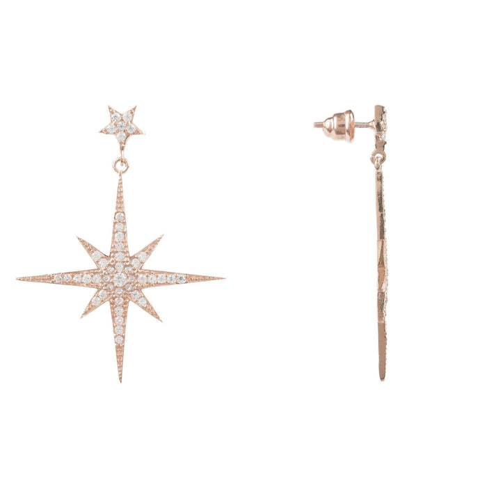 LATELITA LONDON Large Star Burst Drop Earring in Rosegold