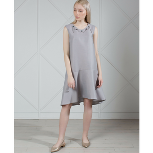 MUZA Linen Dress in Gray