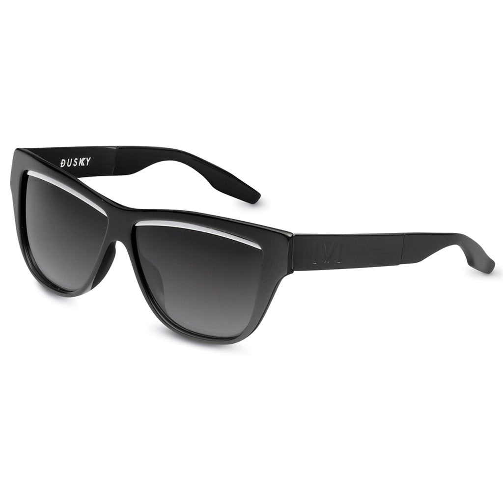 IVI VISION Dusky Sunglasses in Polished Black with Brushed Black / Grey Lens