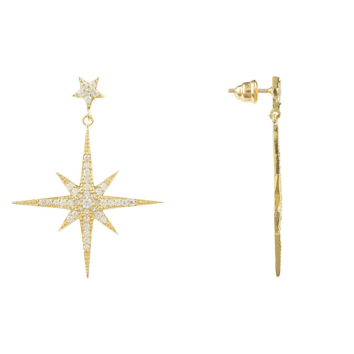LATELITA LONDON Large Star Burst Drop Earring in Gold