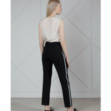 MUZA Wool Satin Striped Pants in Black