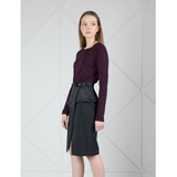 MUZA Long Sleeve Jersey Top in Wine