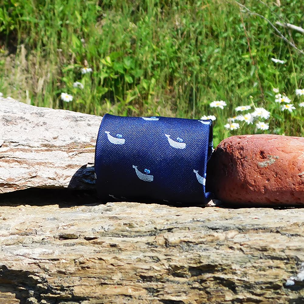 SUMMER TIES Woven Silk Whale Necktie in Grey on Navy
