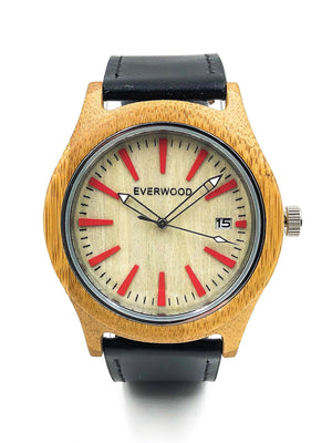 EVERWOOD Kylemore Watch in Bamboo and Black Leather