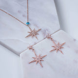 LATELITA LONDON Petite Starburst Drop Earrings in Rosegold