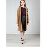 MUZA Wool & Cashmere Cocoon Coat in Camel