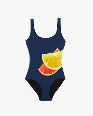 ONIA Kelly Swimsuit in Citrus Orange Deep Blue