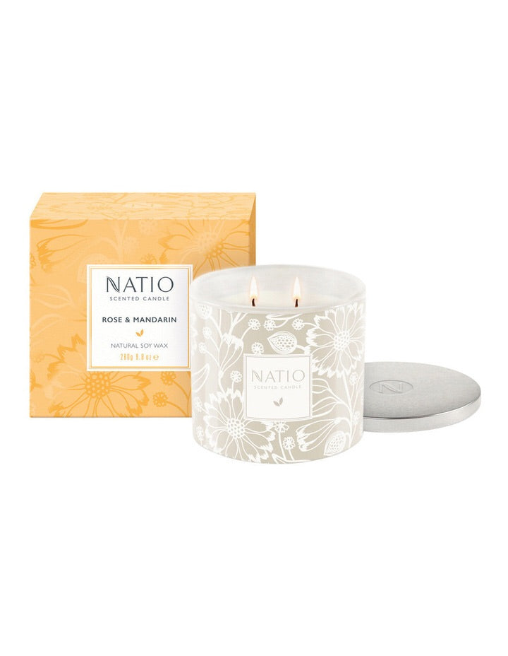 NATIO Soy Wax Candle in Rose & Mandarin