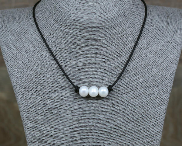 Angie Laugel - White Three Pearl Choker