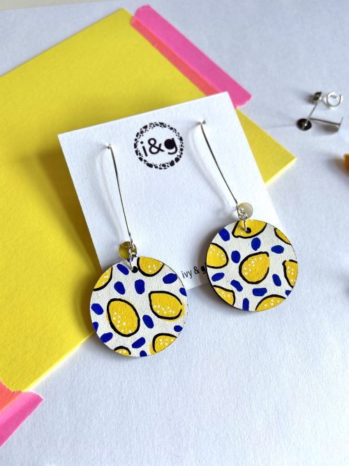 White lemon wooden earrings