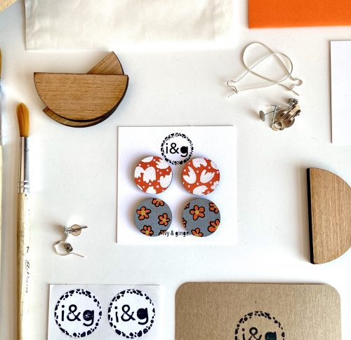 Grey and orange wooden earring set