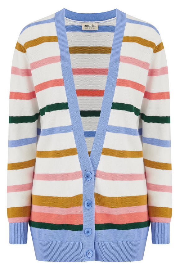 Vika Cardigan - Cream, Multi Stripes