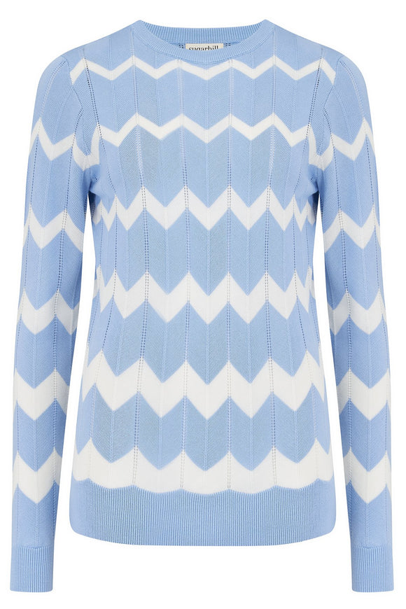 Rita Jumper - Pale Blue, Chevron