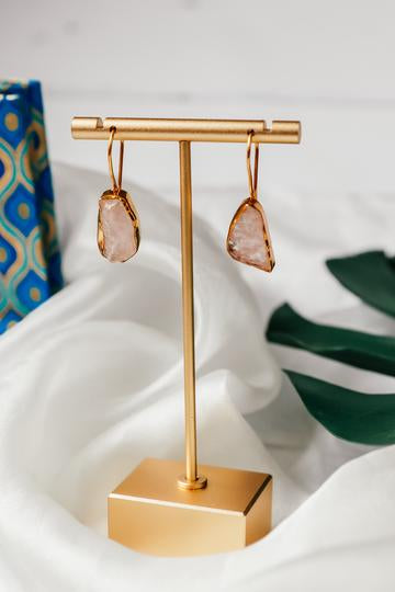 Rose quartz single drop earrings