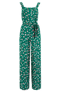 Francesca Jumpsuit - Green, Dappled Spot