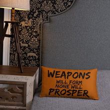 """No Weapon"" Decorative  Pillow (Brown)"