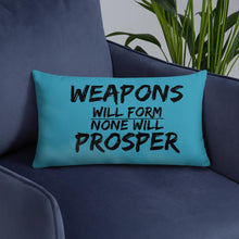"""No Weapon"" Decorative  Pillow (Teal)"