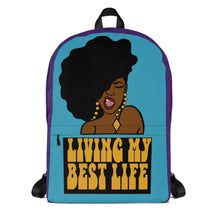 """Living My Best Life"" Backpack (Teal)"