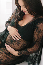 Black Lace Maternity Shoot Dress