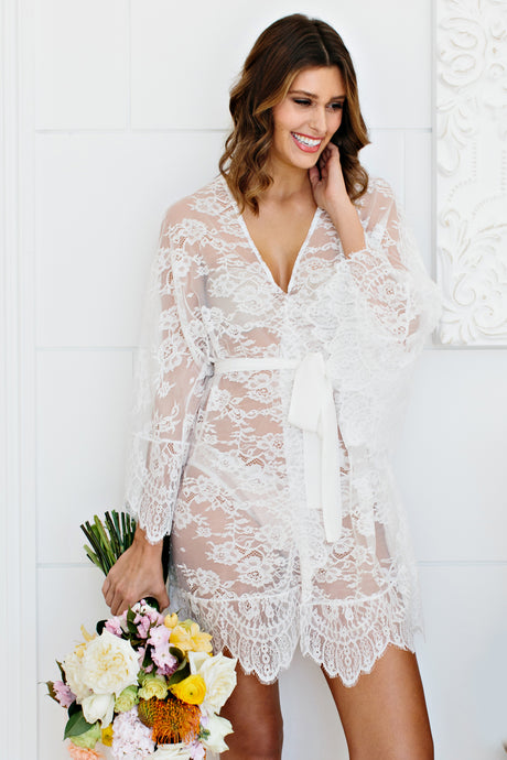 Lace Bridal Robe with Silk Sash