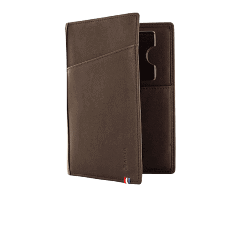 The Nomade Wallet Portepasseport Cuir Marron Apto - Porte passeport cuir