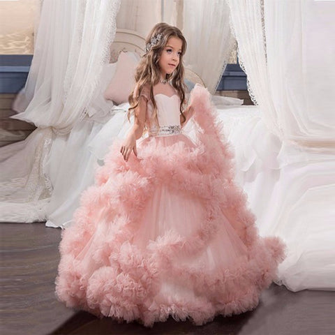 2017 New Flower Girl Dresses Blush Pink First Communion Gowns For