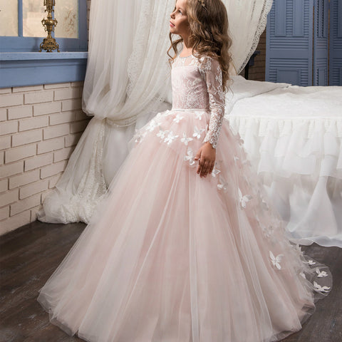 88116e2652 Holy Communion Dresses Ball Gown Long Sleeves Lace Back Button Solid O-neck  Flower Girl Dresses Vestido De Daminha New Arrival