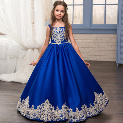 49f86c4d008 2017 Royal Blue Flower Girl Dresses Appliques Sleeveless Ball Gown Formal  Bow Sashes First Communion Gowns