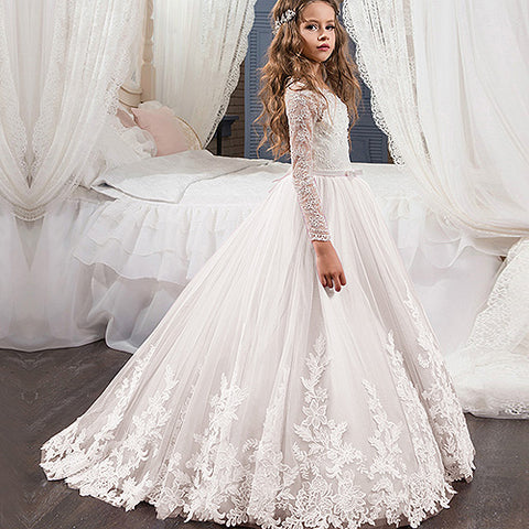 c9cde221 ... 2017 New Flower Girl Dress Long Sleeves O Neck Girls Pageant Gowns Holy  Lace Communion Dresses ...