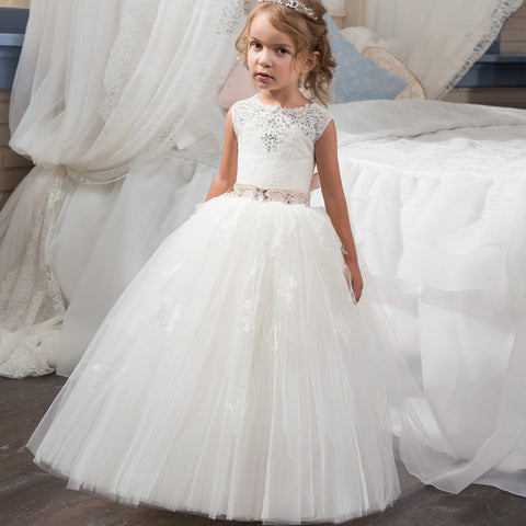 7b7915546a 2017 New Arrival Flower Girl Dresses White and Ivory O-neck Beading Ball  Gown Sleeveless