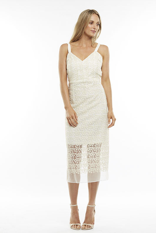 Cream Lace Midi Dress