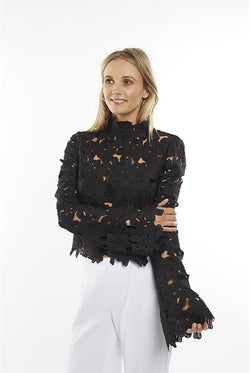 Black Lace Bell Sleeve Top