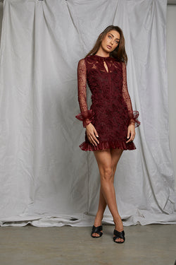 d0e2329d96e06 Burgundy Ruffle Dress
