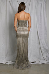 Beaded Strapless Gown