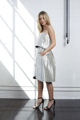 Strapless Silver Textured Dress